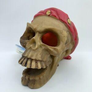 Imagitarium Pirate Skull Red Bandana Aquarium Decoration Undead Halloween Spooky