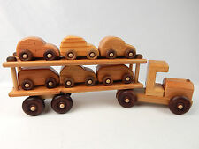 Hand Made Solid Wood Tractor Trailer Truck Toy Car Carrier w/ 6 Cars Fowler