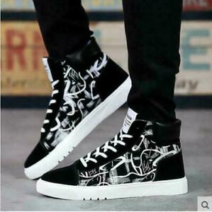Breathe Fashion Canvas Man's Korean High Top Sneakers Casual Shoes Black hHH4