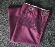 """Stunning purple/plum sequins lined ring-top curtains 66x90"""""""