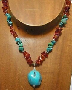 Sterling Silver USA Natural TURQUOISE & BALTIC AMBER Necklace...Handmade USA