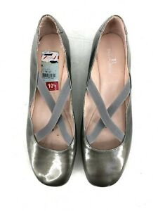Taryn Rose Womens Ballet Flat Gray Strappy Comfort Patent Leather Size 10.5