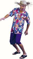 Mens Hawaiian Tourist Fancy dress costume Straw Hat, Shirt shorts Outfit