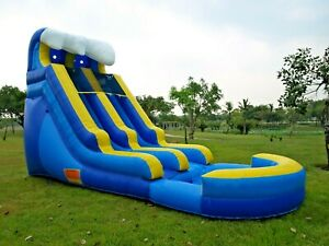 Inflatable Blue Wave Water Slide 15 Feet 100% PVC Vinyl with 1HP Blower