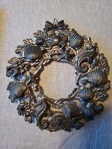 """Seashell Nautical Wreath Beach Metal Sea Shell Seahorse Lobster Silver 9"""" Ocean"""