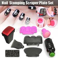 Silicone Nail Art Stamping Stamper & Scraper Templat Set Tools DIY Manicure Kits