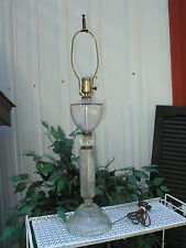 """Antique Vintage Clear Pressed Glass Base Flowers Table Lamp 29 1/2"""" Tall"""