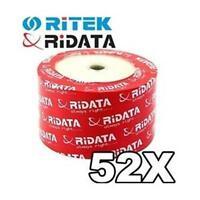 50 Ritek Ridata 52X CD-R 80min 700MB White Inkjet Hub Printable Blank Disc