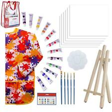Paint Easel Kids Art Set– 28-Piece Acrylic Painting Supplies Kit with Storage Ba