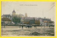 cpa Pas courante 58 - LUZY (Nièvre) Place du CHAMP de FOIRE Attelage de Boeufs