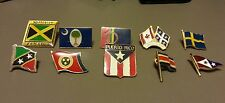 Lot of 10 Lapel Pins Foreign Flags