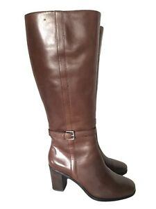 Lauren Ralph Lauren Brown Leather Tall Side Zip w Buckle Riding Boots Size 8.5 B