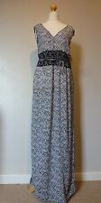 H&M Sleeveless V Neck Patterned Maxi Dress + Tie Belt Size 16 Uk BNWT RRP £33.98