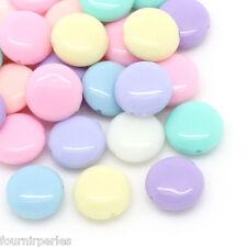 200 mixte perles Acrylique lisse rond plate 12*5mm.B28553