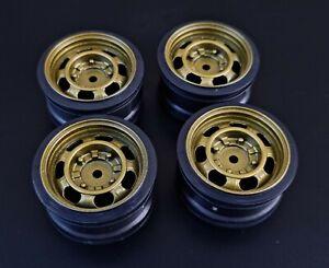 4x 1/10 RC Gold Steel Style Wheels, 26mm, Fit Drift Car, Rally, TT01