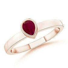 1Ct Pear Cut Ruby Solitaire Bezel Set Friendship Gift Ring Rose Gold Fnsh Silver