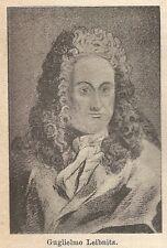 A9106 Guglielmo Leibnitz - Xilografia - Stampa Antica del 1906 - Engraving