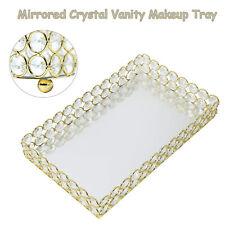 Crystal Mirrored Cosmetic Tray Vanity Rectangle Jewelry Trinket Organizer Tray