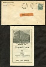 p48 - MONCTON NB 1933 Postal Stationery Cover. Knights of Pythias Contents