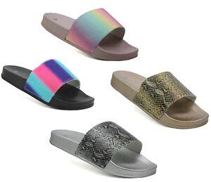 Womens Ladies Multicolour Fashion Summer Beach Holiday Pool indoor Mule Sliders