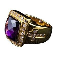 5Ct Cushion Checkered Amethyst Synt Diamond Bishop Ring Yellow Gold Fnsh Silver