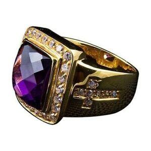 5Ct Cushion Checkered Amethyst Synt Diamond Bishop Ring Yellow Gold Fnsh Silver