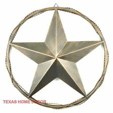 Texas Metal Barn Star with Tube Ring Twisted Wire Western Brushed Copper 23 in