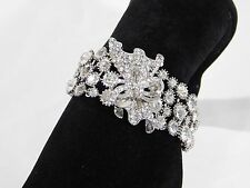 Bridal Silver Ruffle With Bow Clear Rhinestone Crystal Bangle Bracelet
