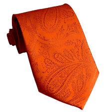 New Men's Polyester Woven Neck Tie necktie only orange paisley prom wedding