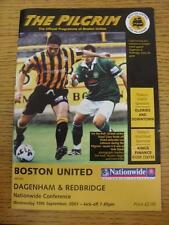 19/09/2001 Boston United v Dagenham And Redbridge [Last Non League Season] . Thi