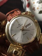 Vintage Bucherer Solid 18K Gold Overlord Watch Rare Day/Date