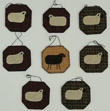 Folk Art Quilted SHEEP Christmas Ornaments Country Handmade Ornaments Lot of 8