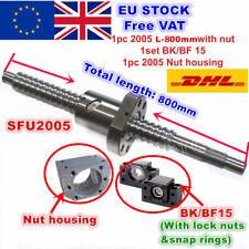 【EU】SFU2005 L800mm Ballscrew+2005 Ballnut + BK/BF15 End Support+ Nut housing CNC