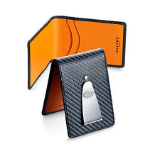 Dalvey Insignia Credit Card & Money Clip - Black & Orange Italian Leather