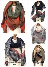 New Women Oversize Warm Aztec Scarf Plaid Check Shawl Wrap Square Blanket Scarf
