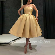 Tea Length Evening Homecoming Dress Formal Prom Ball Gown Off Shoulder Satin