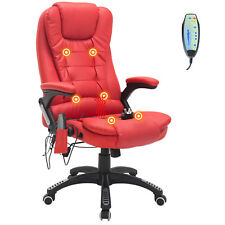 Executive Office Massage Chair Ergonomic Heated Vibrating Computer Desk - Red