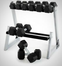 Weider 200 lb Rubber Hex Dumbbell Weight Set 10-30 lb with Rack Box New