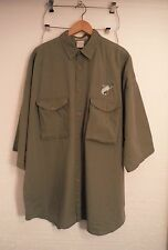 Columbia Gray S/S Fishing Shirt Mens 4XL Big & Tall Embroidered Fish Made in USA