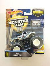 Ice Monster Hot Wheels 1:64 Monster Jam Truck with team flag New