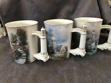 Thomas Kinkade Seaside Inspirations Porcelain Mugs First Set 2002 Three Mugs