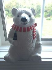 Authorized Coca-Cola Collection Polar Bear Cookie Jar 1994 Red White scarf