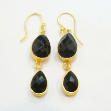 925 Sterling Silver Black Onyx Hand Crafted Gold Plated Earrings For Gift