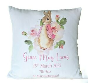 """Personalised Peter Rabbit birth new baby 16"""" white cushion cover baby girl gift"""