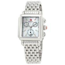 New Michele Deco White MOP Diamond Dial Steel Ladies Watch MWW06P000014