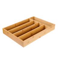 Bamboo Flatware Organizer Storage Tray Silverware Utensil Cutlery Drawer