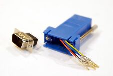 Blue Male DB9 9 Pin Serial to RJ11 RJ12 6 conductor Serial Modular Adapter