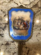 Antique Vanity Hand Held Filigree Brass Heavy Mirror