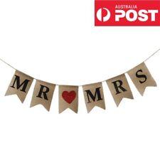 Mr And Mrs & Burlap Wedding Sing Bunting Harland Hanging Decoration Banner
