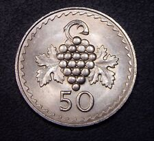Unc Cyprus 1960 (1972) 50 Mils Bunch of Grapes Obverse Better Date Coin!